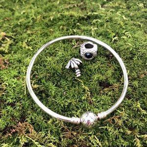Pandora Silver Bangle Charm Bracelet & Charms